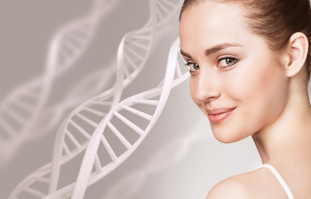 Portrait of sensual woman among DNA chains Stok Fotoğraf - 92860465