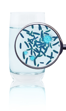 Magnifying glass shows germs in glass of water.