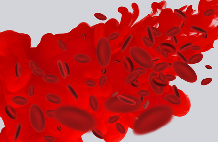 Stream of red blood cells in an artery. Over gray background. 3d rendering