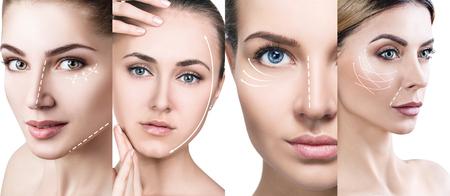 Collage de caras de mujer con flechas de elevación.