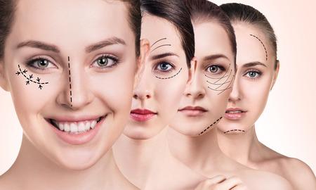 여자 리프팅 화살표와 얼굴 스톡 콘텐츠