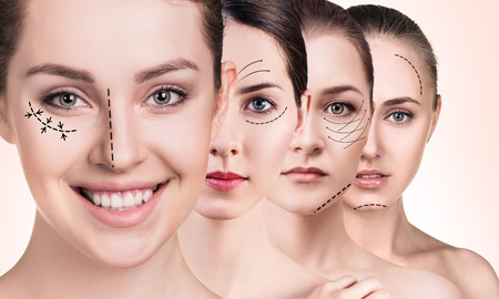 Frauengesichter mit anhebenden Pfeilen