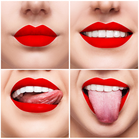 Collage of smiling woman mouth with healthy teeth Фото со стока