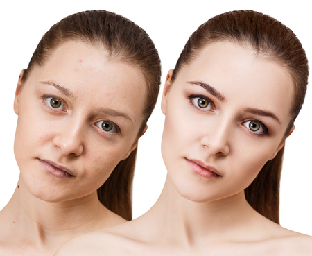 Young woman before and after makeup. Stock Photo