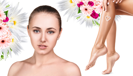 Spa collage of female face and legs.