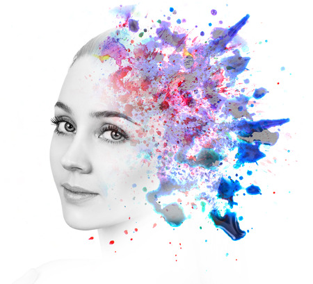 Double exposure of woman and watercolor paint Stock Photo