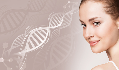 Portrait of sensual woman in DNA chains. Stockfoto