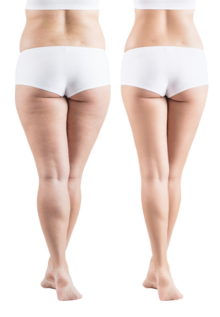 Female buttocks before and after sport and properly food.