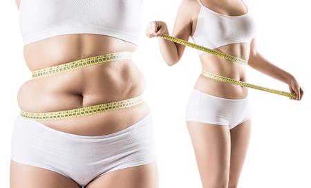 Collage de mujer antes y después de la dieta y la pérdida de peso. Foto de archivo - 95921854