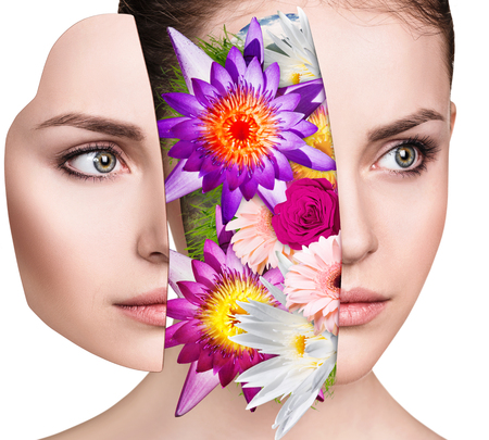 Bouquet of colorful flowers inside young womans face.