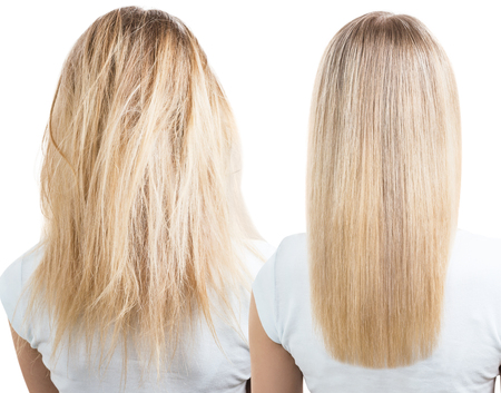 Blonde hair before and after treatment. Stockfoto