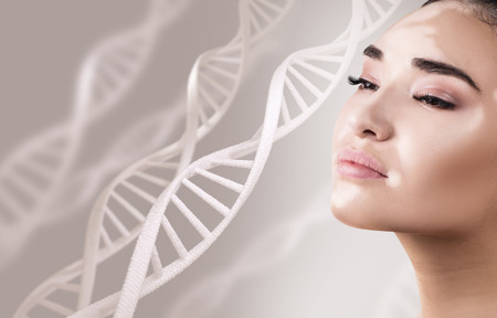 Young sensual woman with vitiligo in DNA chains. Banque d'images