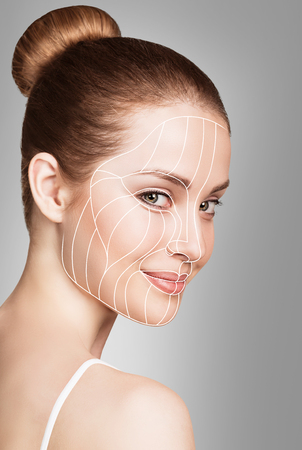 Graphic lines showing facial lifting effect on skin.