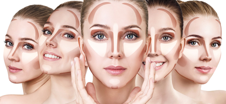 Collage of womans faces with contouring makeup. Stockfoto