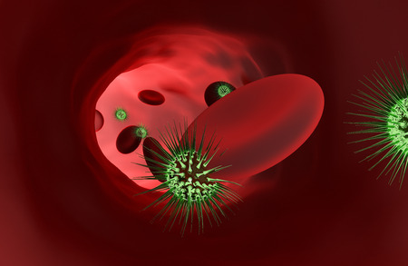 Bacteria with red blood cells. 3D rendering Reklamní fotografie - 96776907