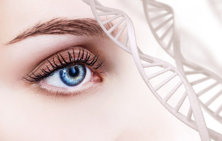 Beautiful female eye looking from DNA chains.