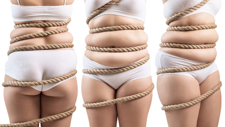 Collage of fat woman twisted with a rope trap.