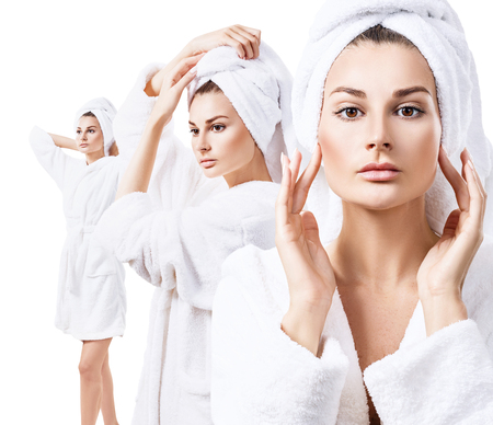 Collage of young beautiful woman in white bathrobe. Stock Photo