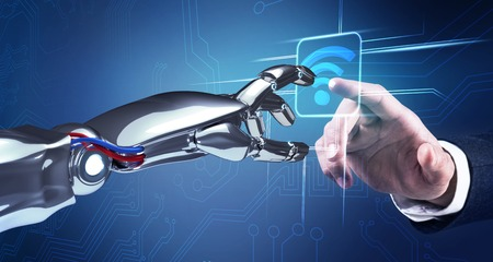 Robotic hand works with icon in virtual reality. 3d rendering