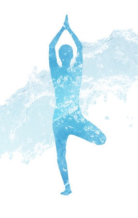 Water silhouette of woman in yoga position.