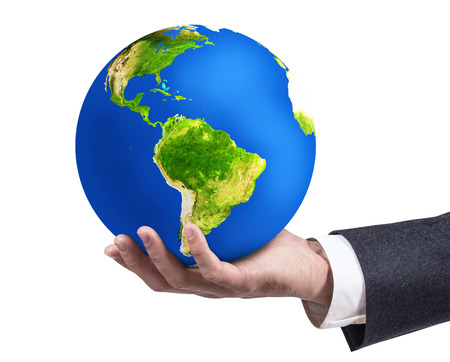 Businessmans hand holding earth planet.