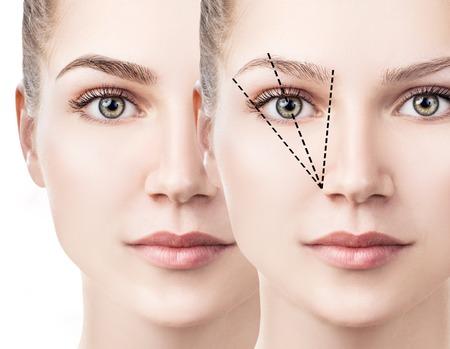 Twarz kobiety przed i po korekcji brwi.
