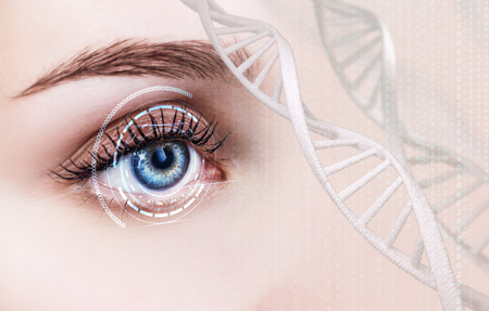 Abstract eye with digital circle and DNA chains.