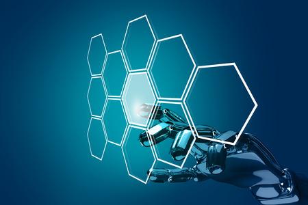 Robot hand push the hexagon button in hexagons. 3d rendering
