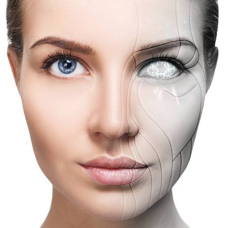 Cyborg woman with machine part of her face.
