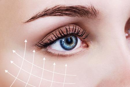 Graficzne linie ukazujące efekt liftingu twarzy na skórze. Zdjęcie Seryjne