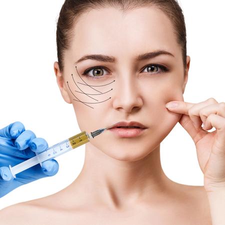 Beautiful woman gets beauty facial injections. Archivio Fotografico