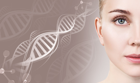 Portrait of sensual woman in DNA chains. Stock Photo