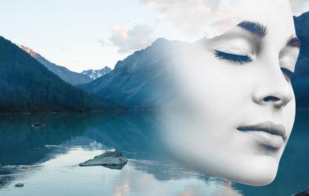 若い女性と自然の風景。 写真素材