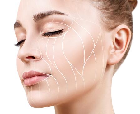 Lignes graphiques montrant l'effet lifting du visage sur la peau.