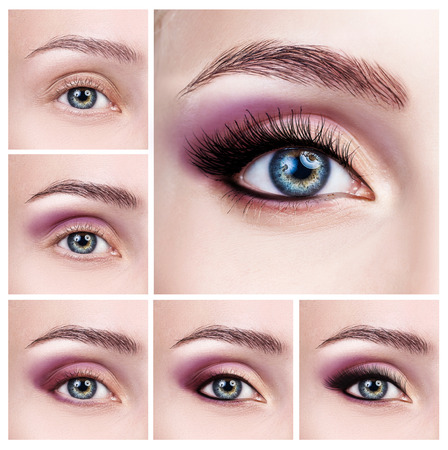 Collage of female eyes with makeup steps.