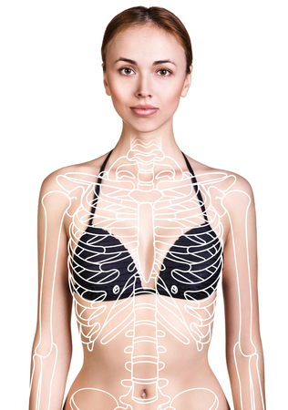 Young woman with paint skeleton on her body.