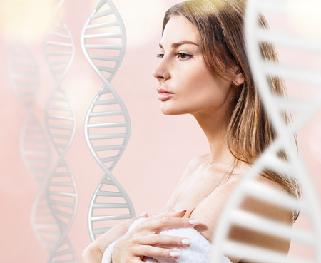 Sensual woman among white DNA chains.