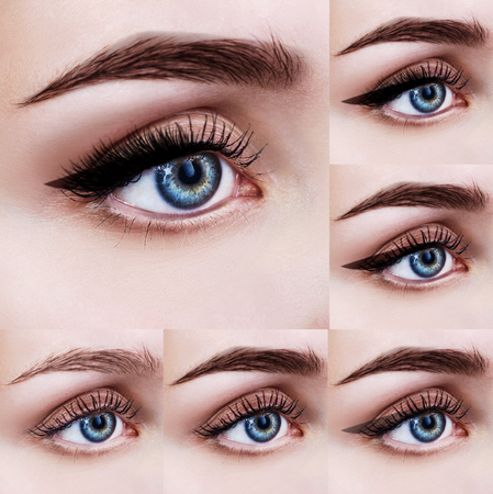 Blue female eyes with makeup steps.