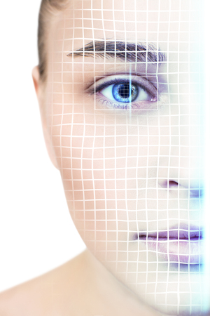 Technological scanning of face of young woman.
