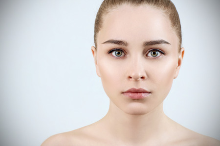 Beautiful portrait of young sensual woman. Skincare concept. Imagens