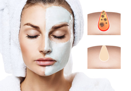 Beautiful woman shows how to pollute and clean the pores on face.