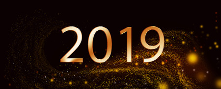 2018 year over black background with sparckles.