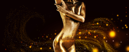 Naked woman with golden skin.