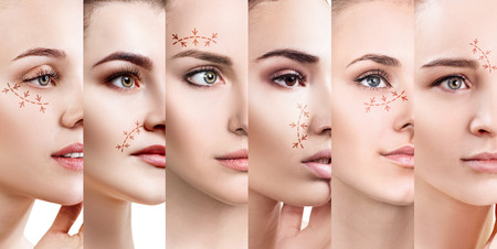 Collage of womans faces with lifting arrows. Stock Photo