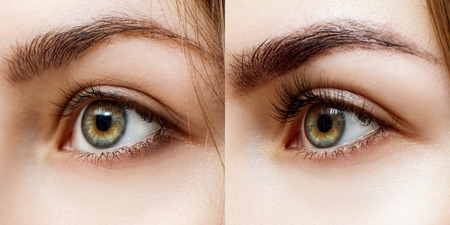 Woman before and after extended eyelashes.