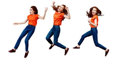 Collage di donna felice zenzero in camicia e jeans che saltano. Archivio Fotografico