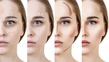 Collage of woman applying makeup step by step.