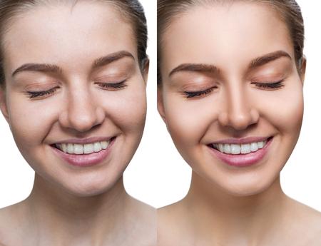 Comparación retrato de mujer joven antes y después del retoque.