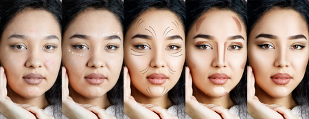 Collage of brunette woman applying makeup step by step.