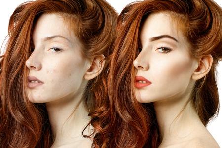 Rothaarige Frau vor und nach der Behandlung und dem Make-up.